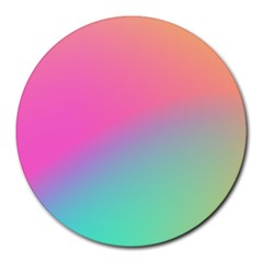 Pink Blue Round Mousepads by AnjaniArt