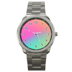 Pink Blue Sport Metal Watch