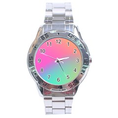 Pink Blue Stainless Steel Analogue Watch