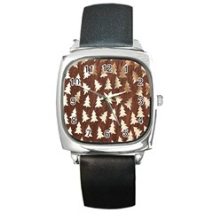 Gold Tree Background Square Metal Watch