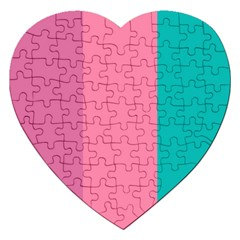 Pink Blue Three Color Jigsaw Puzzle (heart) by AnjaniArt