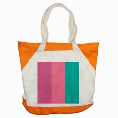 Pink Blue Three Color Accent Tote Bag