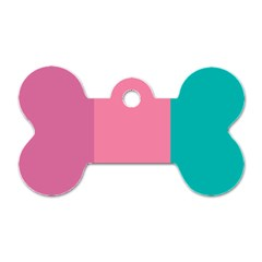 Pink Blue Three Color Dog Tag Bone (two Sides)