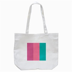 Pink Blue Three Color Tote Bag (white)