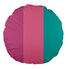 Pink Blue Three Color Large 18  Premium Flano Round Cushions by AnjaniArt