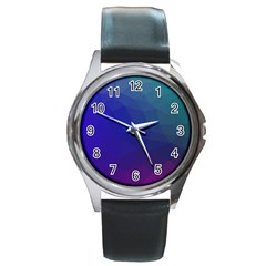 Polyart Dark Blue Purple Pattern Round Metal Watch