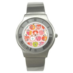 Pink Delicious Organic Canvas Stainless Steel Watch