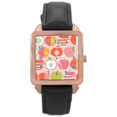 Pink Delicious Organic Canvas Rose Gold Leather Watch  by AnjaniArt