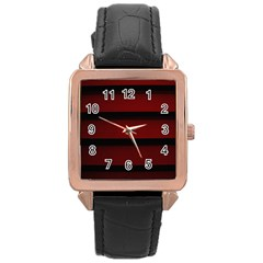 Line Red Black Rose Gold Leather Watch