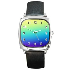 Purple Blue Green Square Metal Watch
