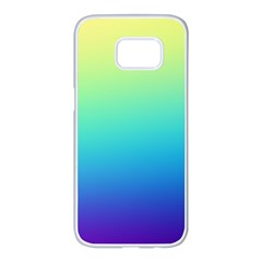 Purple Blue Green Samsung Galaxy S7 Edge White Seamless Case by AnjaniArt