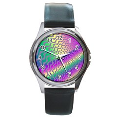 Line Colour Wiggles Round Metal Watch