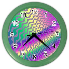 Line Colour Wiggles Color Wall Clocks