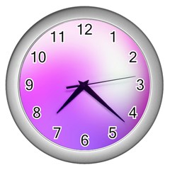 Purple White Background Bright Spots Wall Clocks (silver)  by AnjaniArt