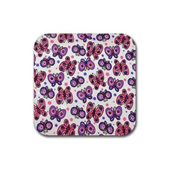Pink Purple Butterfly Rubber Square Coaster (4 Pack)