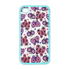 Pink Purple Butterfly Apple Iphone 4 Case (color)