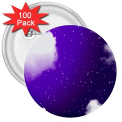 Purple Cloud 3  Buttons (100 Pack)