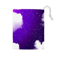 Purple Cloud Drawstring Pouches (large)  by AnjaniArt