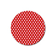Red Circular Pattern Rubber Round Coaster (4 Pack)  by AnjaniArt