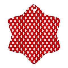 Red Circular Pattern Snowflake Ornament (2 Side) by AnjaniArt