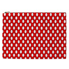 Red Circular Pattern Cosmetic Bag (xxl)  by AnjaniArt