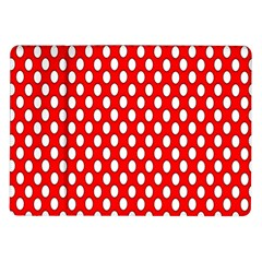 Red Circular Pattern Samsung Galaxy Tab 10 1  P7500 Flip Case by AnjaniArt