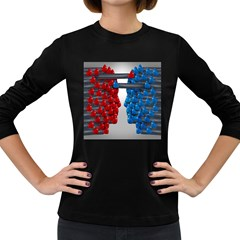 Red Boxing Gloves And A Competing Women s Long Sleeve Dark T Shirts