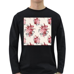 Rose Beauty Flora Long Sleeve Dark T Shirts by AnjaniArt