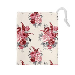 Rose Beauty Flora Drawstring Pouches (large)
