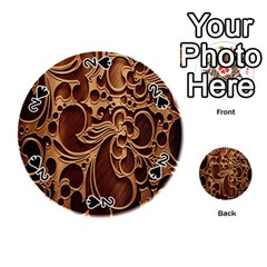 Tekstura Twigs Chocolate Color Playing Cards 54 (round)  by AnjaniArt