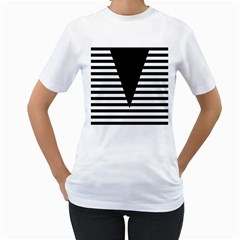 Black & White Stripes Big Triangle Women s T-shirt (white) (two Sided) by EDDArt