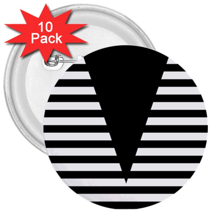 Black & White Stripes Big Triangle 3  Buttons (10 pack)