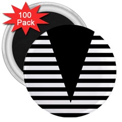 Black & White Stripes Big Triangle 3  Magnets (100 Pack) by EDDArt