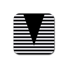 Black & White Stripes Big Triangle Rubber Square Coaster (4 Pack)  by EDDArt