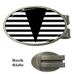 Black & White Stripes Big Triangle Money Clips (Oval)  Front