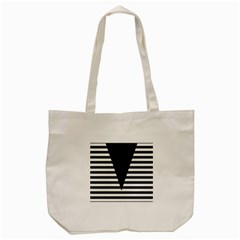 Black & White Stripes Big Triangle Tote Bag (cream) by EDDArt