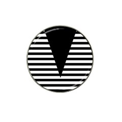 Black & White Stripes Big Triangle Hat Clip Ball Marker (4 Pack) by EDDArt