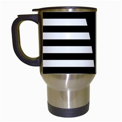 Black & White Stripes Big Triangle Travel Mugs (white) by EDDArt