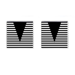 Black & White Stripes Big Triangle Cufflinks (square) by EDDArt