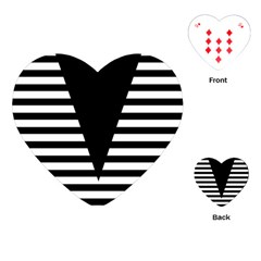 Black & White Stripes Big Triangle Playing Cards (heart)  by EDDArt