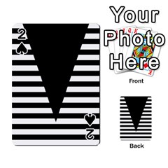 Black & White Stripes Big Triangle Playing Cards 54 Designs  by EDDArt