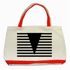 Black & White Stripes Big Triangle Classic Tote Bag (red) by EDDArt