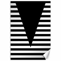 Black & White Stripes Big Triangle Canvas 12  X 18