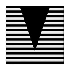 Black & White Stripes Big Triangle Face Towel by EDDArt