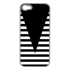 Black & White Stripes Big Triangle Apple Iphone 5 Case (silver) by EDDArt