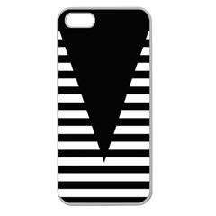 Black & White Stripes Big Triangle Apple Seamless Iphone 5 Case (clear) by EDDArt