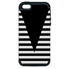 Black & White Stripes Big Triangle Apple Iphone 5 Hardshell Case (pc+silicone) by EDDArt