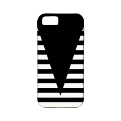 Black & White Stripes Big Triangle Apple Iphone 5 Classic Hardshell Case (pc+silicone) by EDDArt
