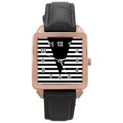 Black & White Stripes Big Triangle Rose Gold Leather Watch  by EDDArt