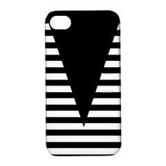 Black & White Stripes Big Triangle Apple Iphone 4/4s Hardshell Case With Stand by EDDArt